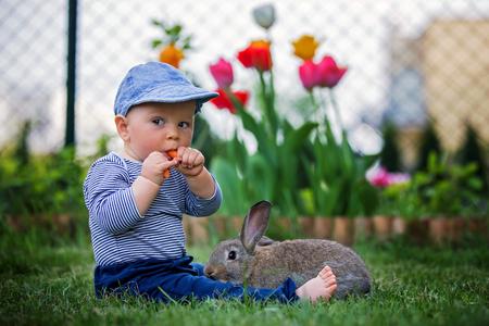 Entzückendes kleines Kleinkindkind, Junge, das Karotte in einem Garten isst, kleines Häschen, das neben ihm sitzt