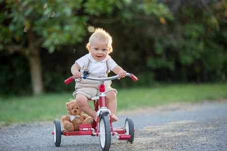 Cute toddler child, boy, playing with tricycle in backyard, kid riding bike on sunset