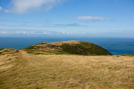 Beautiful contryside nature of North Devon, cliffs and hills in England, summertime 版權商用圖片