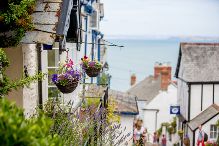 Beautiful view of the streets of Clovelly, nice old village in the heart of Devonshire, England Stock Photo