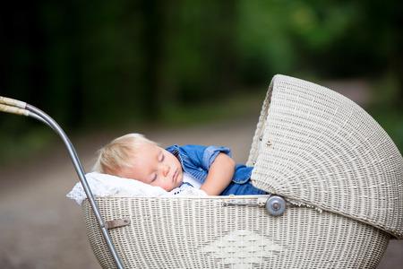 Little newborn baby boy, sleeping in old retro stroller in forest, autumn time. Posed baby in retro pram, baby sleeping, vintage stroller Banco de Imagens