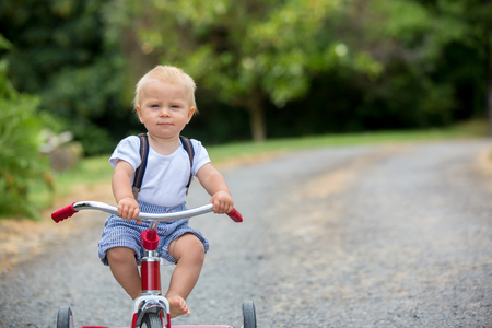 Cute toddler boy, playing with tricycle in backyard, summertime Stock Photo