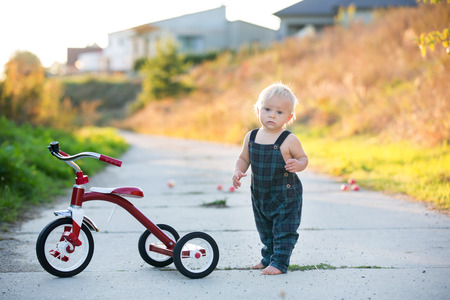 Nettes Kleinkindkind, Junge, der mit dem Dreirad im Park spielt und Apfel isst, Kinderfahrrad bei Sonnenuntergang Standard-Bild