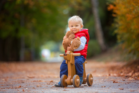 Little toddler boy with teddy bear, riding wooden dog balance bike in autumn park on a sunny warm day, children leisure activities and happiness concept