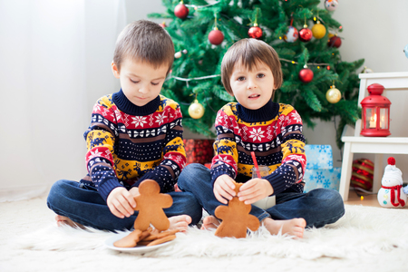 Two adorable children, boy brothers, eating cookies and drinking milk at home, Christmas decoration behind then, kids having fun. Christmas concept Banco de Imagens