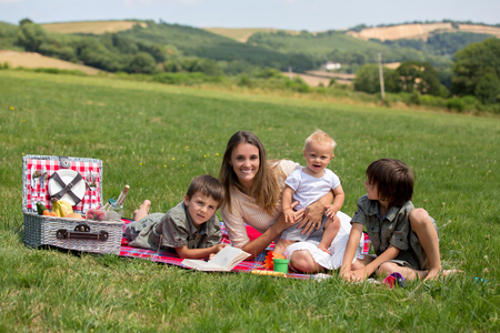 Happy family, having picnic in the rural, aerial view of Devonshire, summertime
