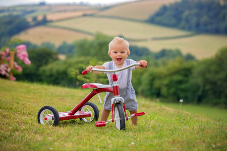 Cute toddler child, boy, playing with tricycle in backyard, kid riding bike Stock Photo