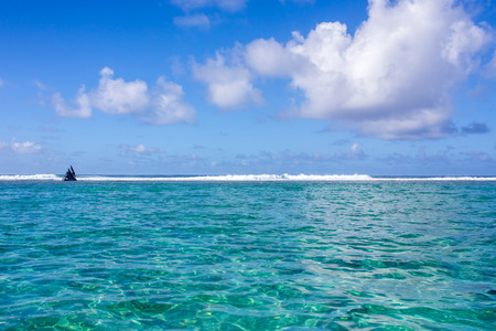 Beautiful amazing nature background. Tropical blue sun sea. Luxury holiday resort. Island atoll about coral reef. Fresh freedom. Adventure day. Snorkeling. Coconut paradise