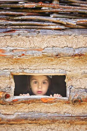 Curious child, boy, peering from a small window in wooden shrub, making funny face
