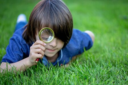 Preteen child, boy, exploring with magnifying glass, watching ladybugs in the grass Stok Fotoğraf - 125784178