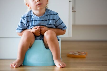 Little toddler boy, sitting on potty, playing with wooden toy at home