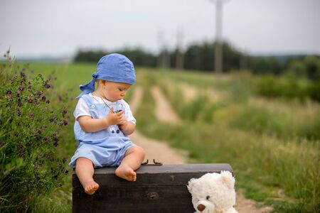 Cute toddler boy, sitting on vintage suitcase, playing with teddy bear on rural path on sunset, summertime Stock Photo