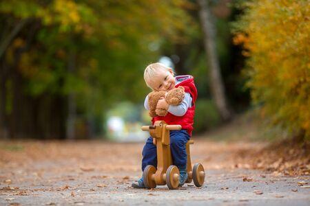 Kleiner Kleinkindjunge mit Teddybär, Holzhundelaufrad im Herbstpark an einem sonnigen warmen Tag reiten, Freizeitaktivitäten für Kinder und Glückskonzept Standard-Bild