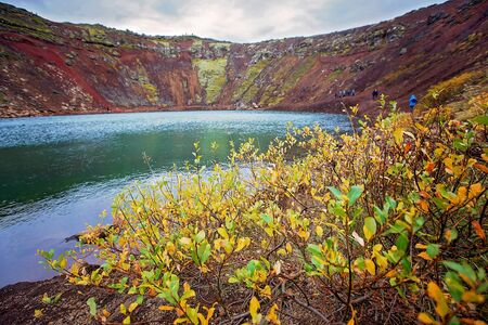 Kerid crater lake in Iceland, autumntime