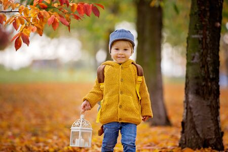 Beautiful fashion toddler boy, walking in park with lantern in hand and backpack on his back
