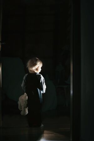 Toddler child, boy, hodling teddy bear, standing in hallway next to the door to bedroom, fairy tale picture