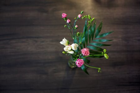 Beautiful blooming carnations in a vase on wooden brown background