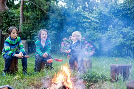 Happy kids roasting sausages on campfire at evening