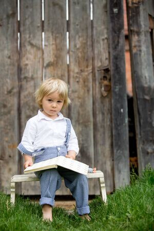 Blond toddler boy, reading book in garden in front of old wooden gate