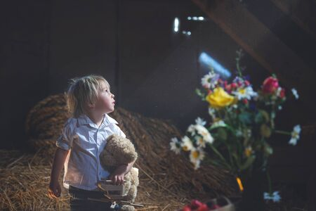 Little toddler blond boy, playing with wooden plane and teddy bear in the attic, nice atmosphere, flowers and strawberries next to him