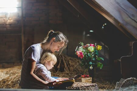 Beautiful mom and toddler blond boy, reading a book in the attic, nice atmosphere, flowers and strawberries Archivio Fotografico