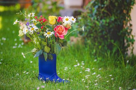 Rubber boots with beautiful flowers in garden