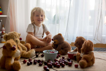 Toddler blond child, cute boy, eating cherries with teddy bears at home Фото со стока - 151058435