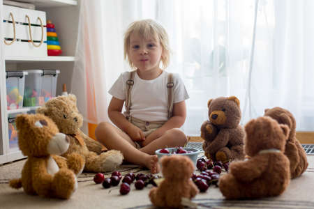 Toddler blond child, cute boy, eating cherries with teddy bears at home Фото со стока - 151059043