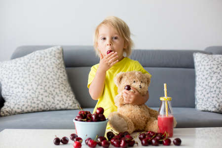 Toddler blond child, cute boy, eating cherries with teddy bears at home Фото со стока - 151058691