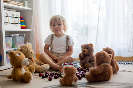 Toddler blond child, cute boy, eating cherries with teddy bears at home Фото со стока - 151058761