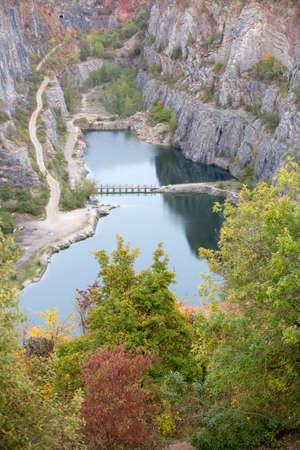 Stone quarry in Czech Republic, called Big America near Prague autumntime Stock Photo