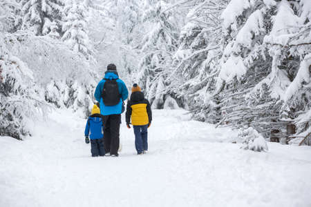 Happy family witn children, hiking in mountains wintertime, lots of snow, beautiful winter forest with deep snow 版權商用圖片