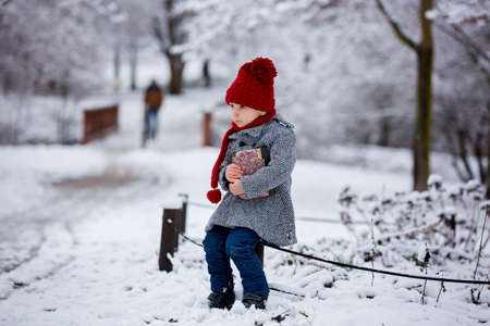 Beautiful toddler child, cute boy, playing in snowy park winter time, cloudy day