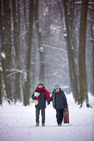 Two children, boy brothers, walking in a forest with old suitcase, wintertime in the snow