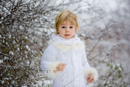 Beautiful blond toddler child, boy with white knitted handmade overall, holding lantern in the snow, winter fairytale