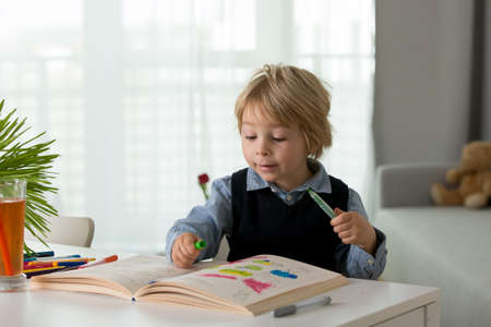 Cute preschool child, blond boy, filling some homework in a book and coloring pictures