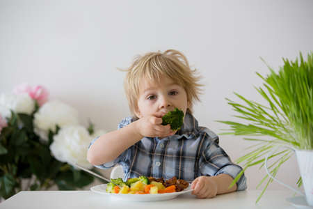 Little toddler child, blond boy, eating boiled vegetables, broccoli, potatoes and carrots with fried chicken meat at home, homemade freshly cooked healthy food Standard-Bild