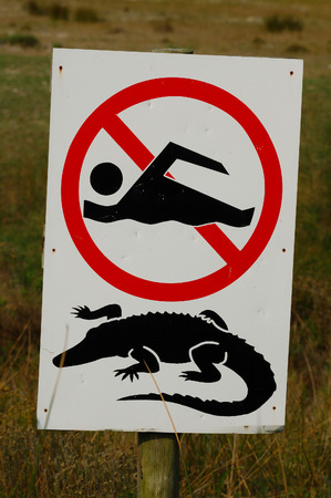 no swimming sign: no swimming sign at soutafrica Stock Photo