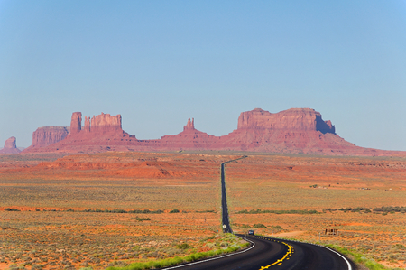 monument valley view: road to the monument valley USA with panoramic view
