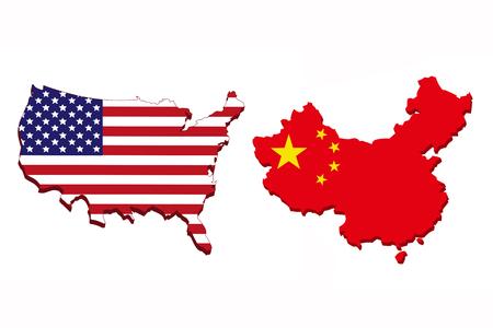 Vlag van Amerika en China in de vorm van een kaart op een witte achtergrond.