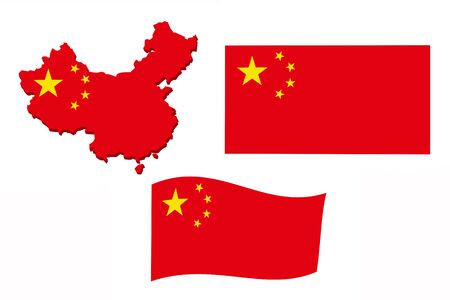 Flag of China in the form of a map on a white background.