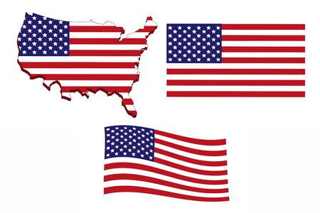 Flag of America in the form of a map on a white background.