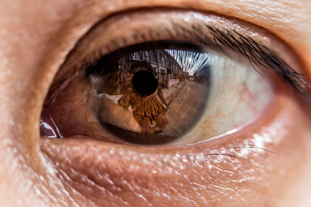 macro photo of the eye. blood vessels on the eyes. eyelashes in macro. pupil close-up.Selection focus only on some points in the image. Stock Photo