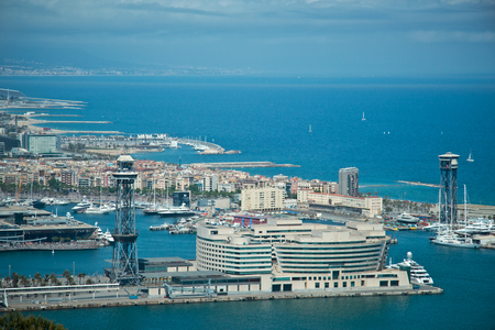 dockyard: aerial view of port in Barcelona from Montjuic Mountain Stock Photo