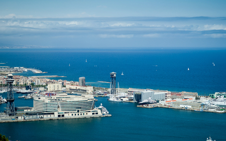aerial view of port in Barcelona from Montjuic Mountain photo