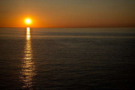 a beautiful sunset over the Baltic sea photo