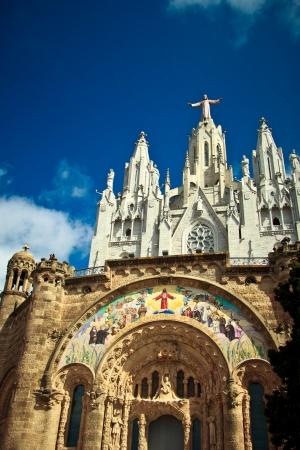 tibidabo: Basilica on the Tibidabo mountain in Barcelona Stock Photo
