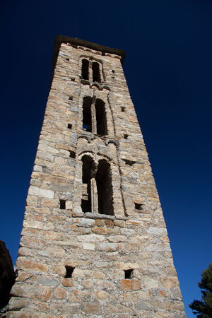 tourism in andorra: Sant Miquel romanic church located at Engolasters, Andorra Stock Photo