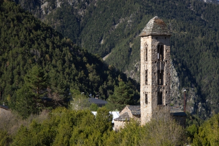 Sant Miquel romanic church located at Engolasters, Andorra 免版税图像
