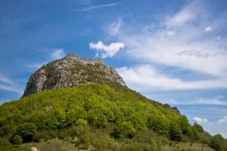 ruines of Montsegur castle near Ariege in France photo